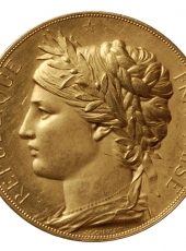 MEDAILLE MODERNE - JULES-CLEMENT CHAPLAIN, Exposition Universelle, Paris, 1878. Médaille en or (avers).